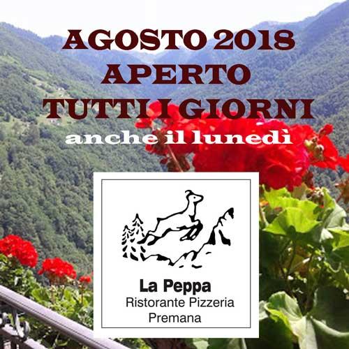 AGOSTO-2018- sempre aperto ristorante la peppa premana