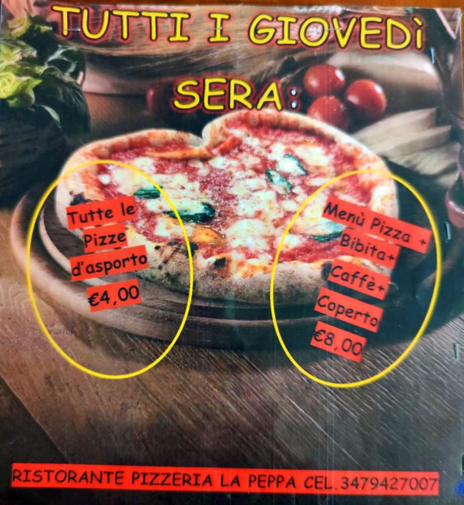 la peppa pizza giovedì sera